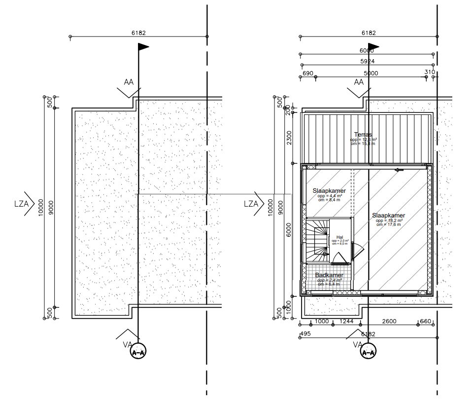 Tekenwerk dakopbouw
